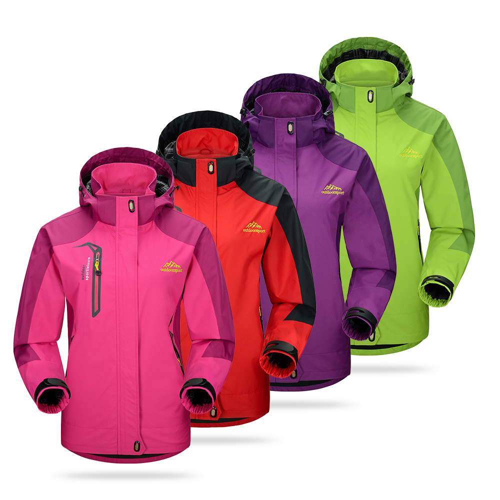 Softshell Jacket Sportswear Hooded-Coat Outdoor Waterproof Women Autumn Spring Windproof