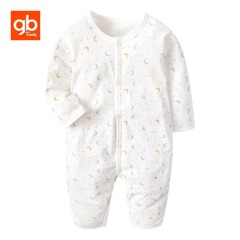 GB Long Sleeve Cotton Baby Rompers O-neck Moon Printed Outfit Clothes Single Breasted Soft Comfort Playsuit for 0-12 Months Old baby rompers o neck 100