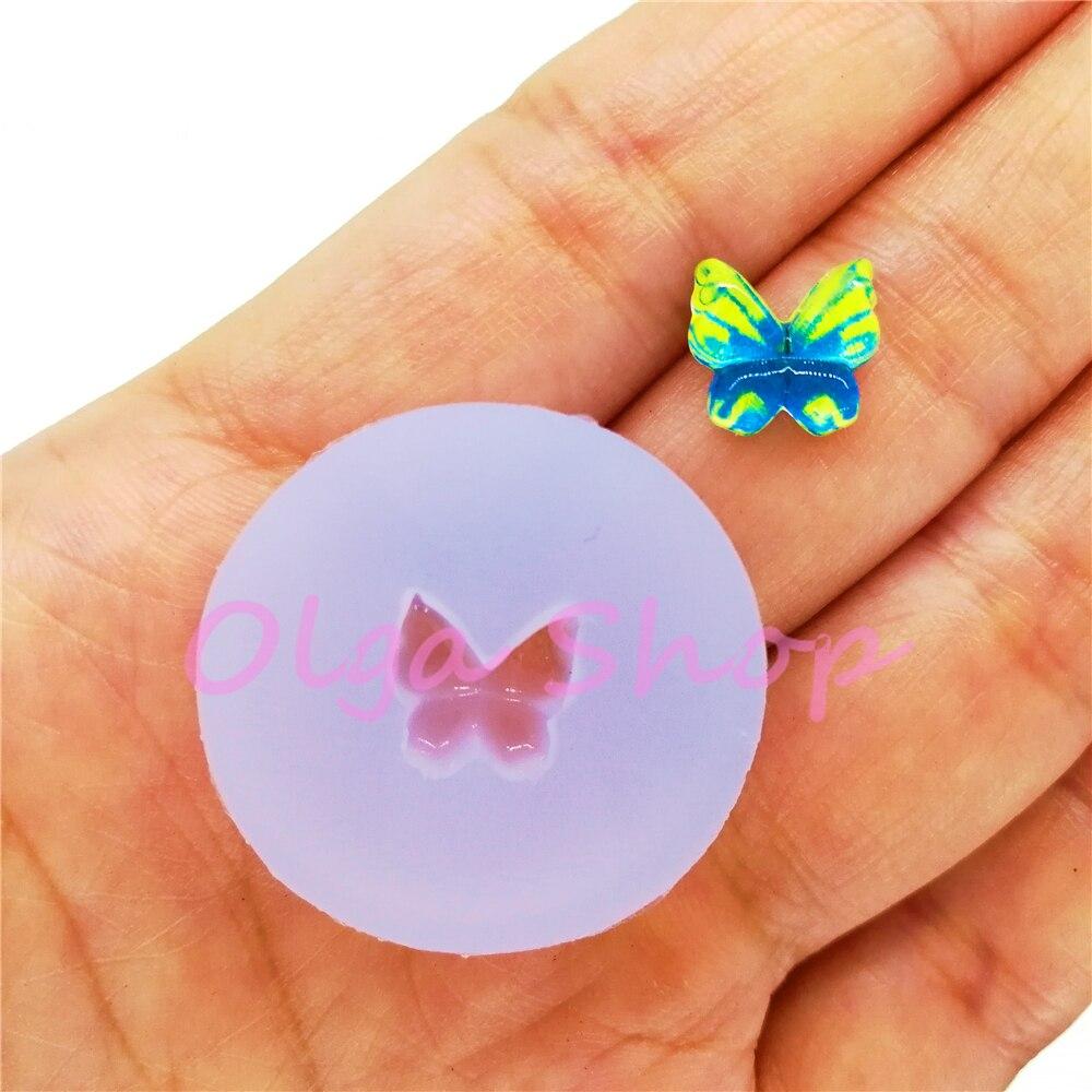 Dyl830 minúsculo borboleta inseto silicone molde arte do prego resina arte brincos colar jóias fazendo fondant decoração 9.4mm x 8.9mm
