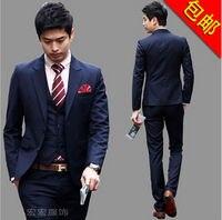 Bán buôn Chất Lượng Tuyệt Vời và Giá Cả Hợp Lý 2016 New Coming Cổ Điển Đơn Giản Phong Cách Đàn Ông Suits (Áo + quần + Áo + Tie)