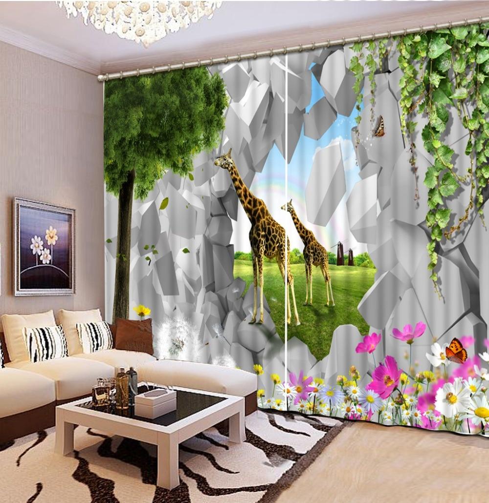 rideaux occultants pour chambre a coucher girafe parc animalier salle a manger salle de bain fenetre