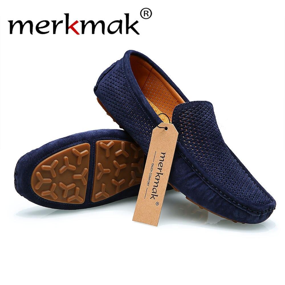 Shoes grey kahaki Mocassins Britannique Trous Hommes Mode Holes Shoes Merkmak Sur Marque Shoes Chaussures De Slip Homme 2018 Conduite Men Blue La Appartements Respirant Casual Baisse Le Loafer Shoes Style Bateau blue wnqzfSpq
