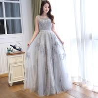 Vestidos de Graduacion Sexy Sheer Back Beaded Lace Long Prom Dresses 2016 Chiffon Evening Party Dress Vestido de Festa Longo