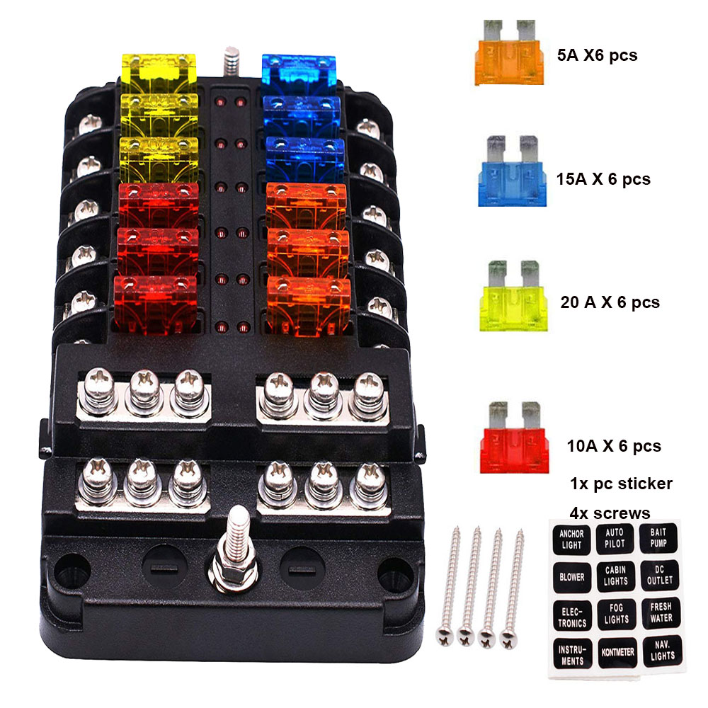 car boat 6v 12v 24v 10 way fuse box holder and fuse with red led electrical outlet box universal auto fuse box holder 12 way circuit blade fuse box 32v terminal block holder circuit