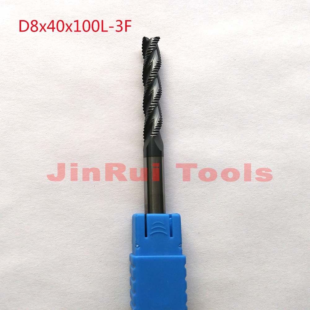 1pc 8mm D8*40*D8*100 HRC45 3 Flutes Solide Carbide Roughing End Mills CNC router bit milling cutter Tools knife fresa купить недорого в Москве