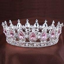 Старинные принцесса Кристалл тиара Розовый Горный Хрусталь Свадебный Волосы Ювелирные Изделия Свадебные Аксессуары Для Волос Королева Pageant и Короны, Диадемы