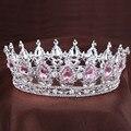 Princesa do vintage tiara de Cristal Rosa Strass Jóia Do Cabelo de Noiva Casamento Acessórios Para o Cabelo da Rainha Pageant Tiaras e Coroas