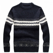 2016 men's knitted sweater patterns Striped thick pullover sweaters winter casual round neck wool sweater men Free Shipping