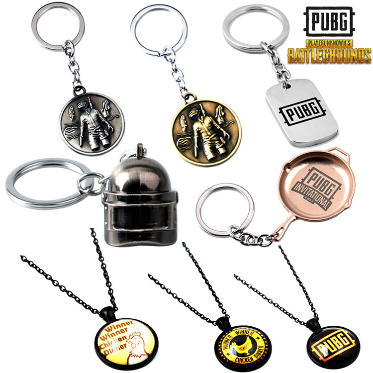 12PCS/LOT Fashion New Black PUBG Frying Pan Keychain High Quality Hot Game Playerunknowns Battlegrounds Keyring For Men Gift