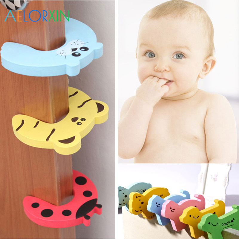 Cute Animal Baby Safety Card Door Protection Baby Newborn Care Lock Protection From Children Castle Child Lock Fridge Keychains