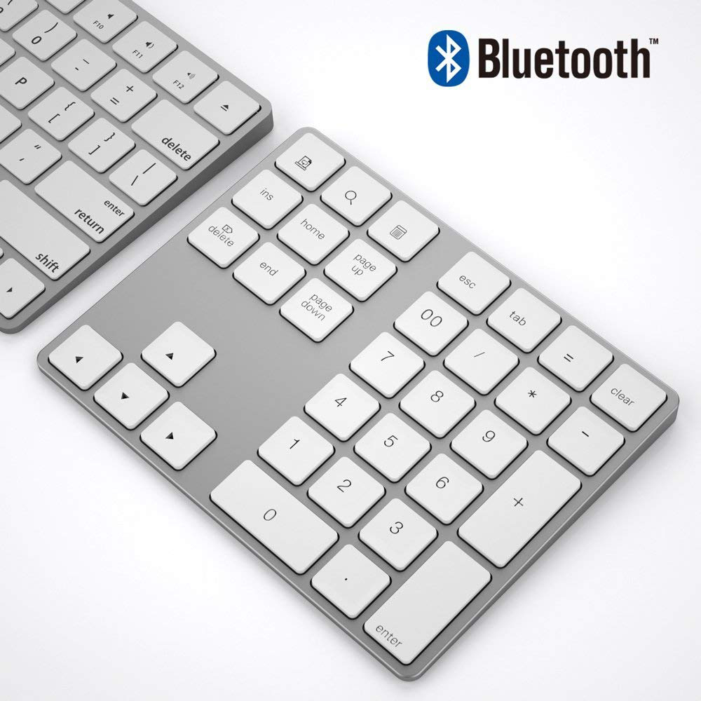 AVATTO Ultra-Slim Aluminum 34 Keys Bluetooth Wireless Numeric Keypad Number Keyboard with Scissor-Switch for PC Surface Tablet [avatto] rechargable 2 4g wireless usb numeric keypad 18 keys for digital keyboard ultra slim number pad compute pc laptop