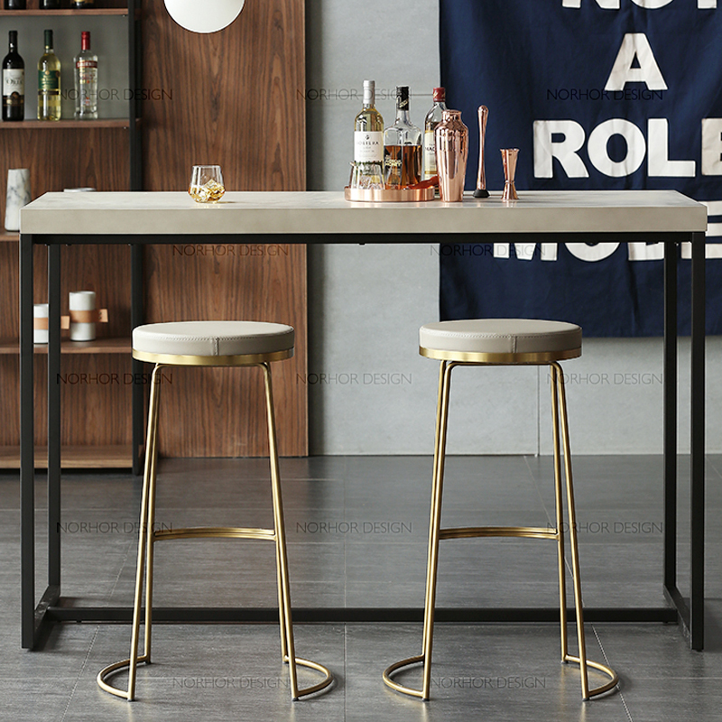 Nordic Bar Stool Wrought Iron Bar Stool Fashion Coffee Chair Gold High Stool Simple Dining Chair Front Chair(China)