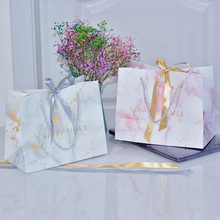 10pcs Creative Gold Silver Ribbon Pink Marble European Style HAPPY TINES Gift Bag Birthday Wedding Favors Candy Bags