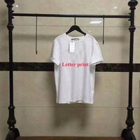women Summer Style cotton letter print customized black white t shirts cotton short sleeve tees tops embroidery Shirt tops