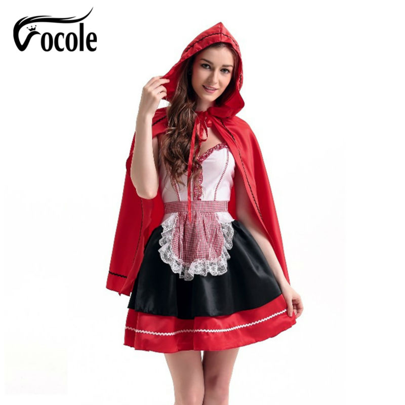 Vocole Halloween Sexy Little Red Riding Hood Costume Mini Dress Cosplay Fantasy Uniforms Canival Party Fancy Dress Outfit Women