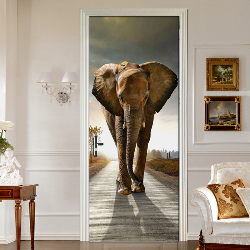 Highway Elephant Living Room Bedroom Door Mural Sticker PVC Adhesive  Waterproof Wallpaper Home Decoration Door Sticker Mural-in Wallpapers from  Home ...