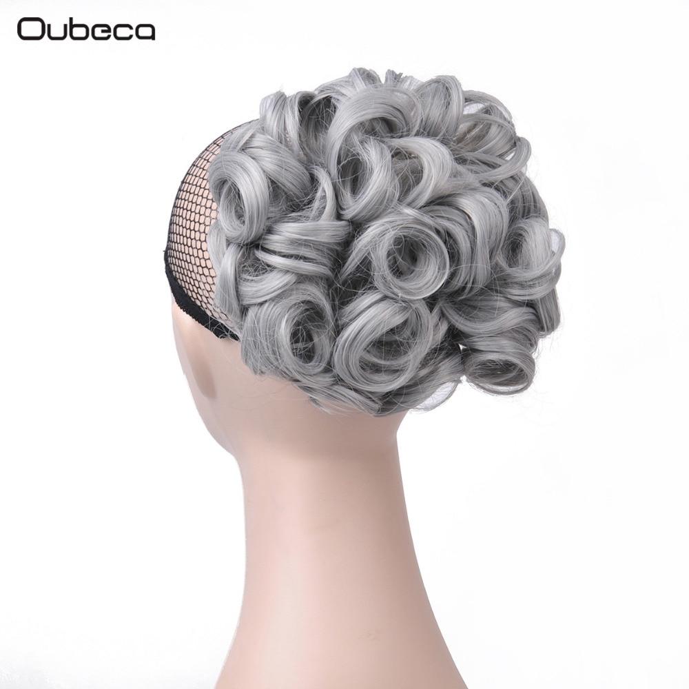 OUBECA Kvinnors Grå Curly Chignon Elastic Gummi Band Combs Klipp I - Syntetiskt hår - Foto 1