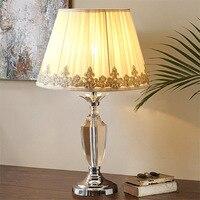 Туда Бесплатная доставка Белое кружево тени настольной лампы американский кантри Стиль K9 Кристалл Настольная лампа современный Дизайн нас