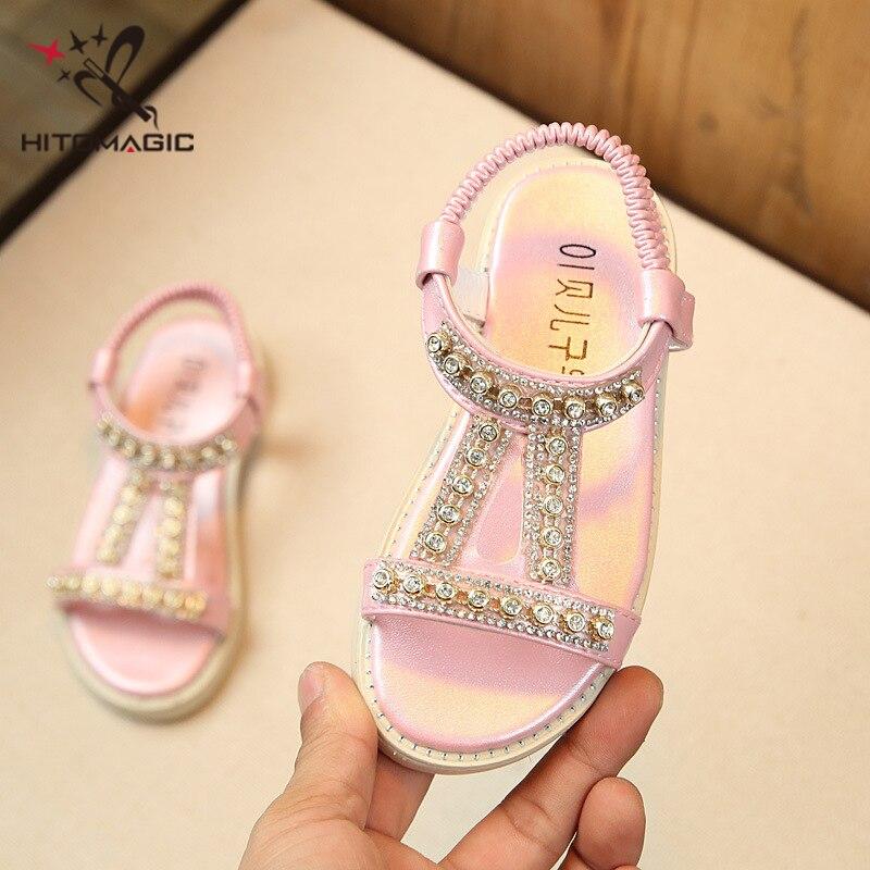 HITOMAGIC Girls Sandals 2018 Shoes Summer Kids Children Shoes Princess  Beach Sandals Cute Rhinestone Pink Gold Girls Toddler -in Sandals from  Mother   Kids ... c928b0b46740