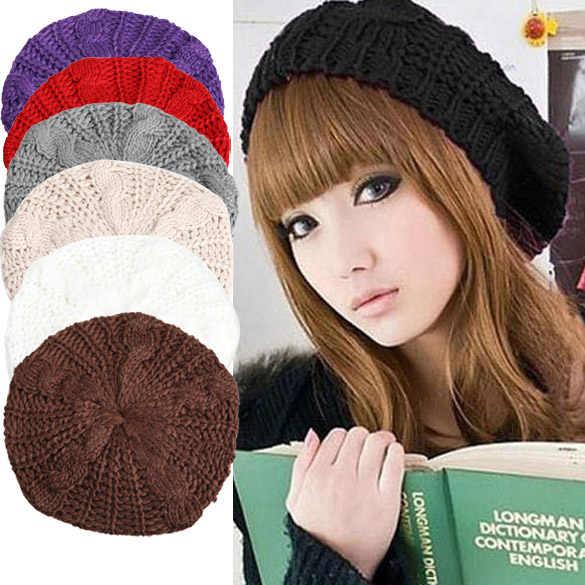 Теплый зимний женский берет Свободная трикотажная шапка шапочка многоцветная лыжная шапка Лучшая распродажа-WT