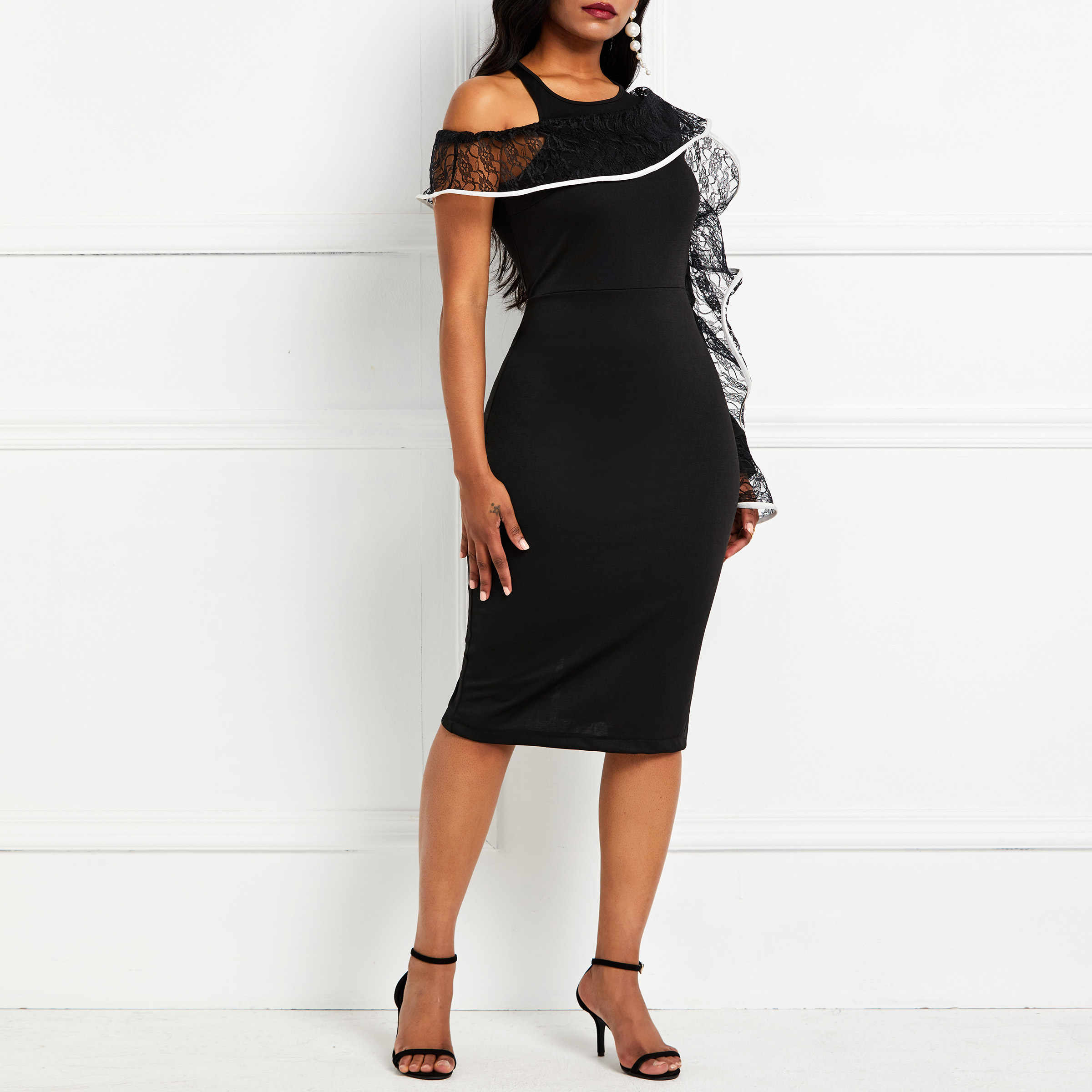 Вечерние облегающие платья 2019, женские сексуальные платья на одно плечо с длинным рукавом, облегающие Клубные летние вечерние элегантные черные кружевные платья миди с рюшами