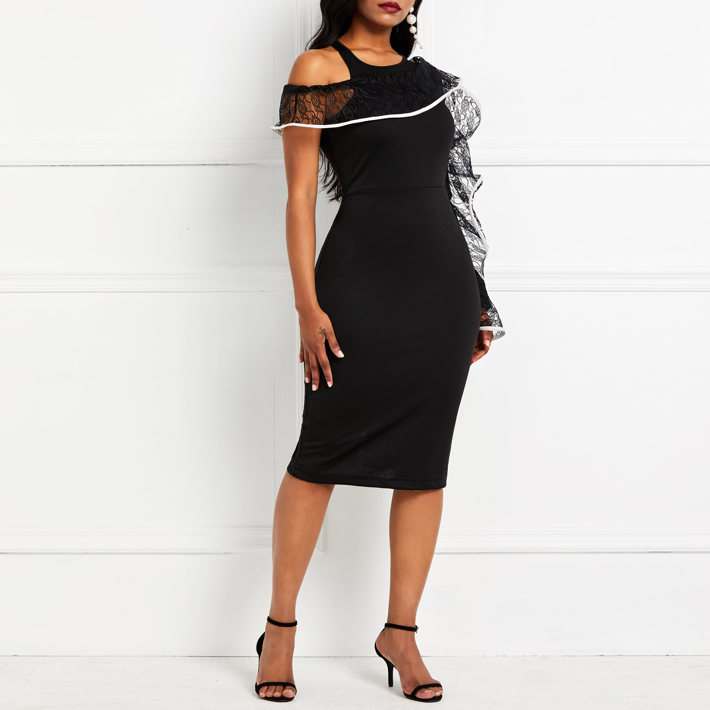 Party Bodycon Dress 2019 Women Sexy One Shoulder Long Sleeve Tight Club Summer Evening Elegant Black Lace Ruffle Midi Dresses in Dresses from Women 39 s Clothing
