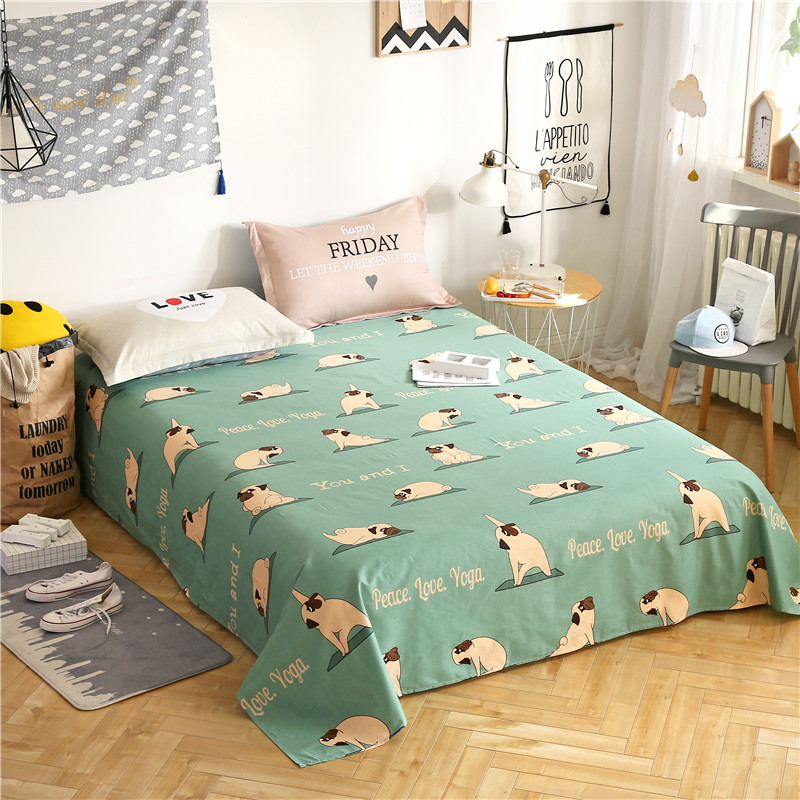 Green Lamb Pattern 3Pcs Flat Sheet Set 100% Cotton Bedding Bedsheet+2Pillowcases Sheets Set Comfortable Set Sheet Sets 3 Size