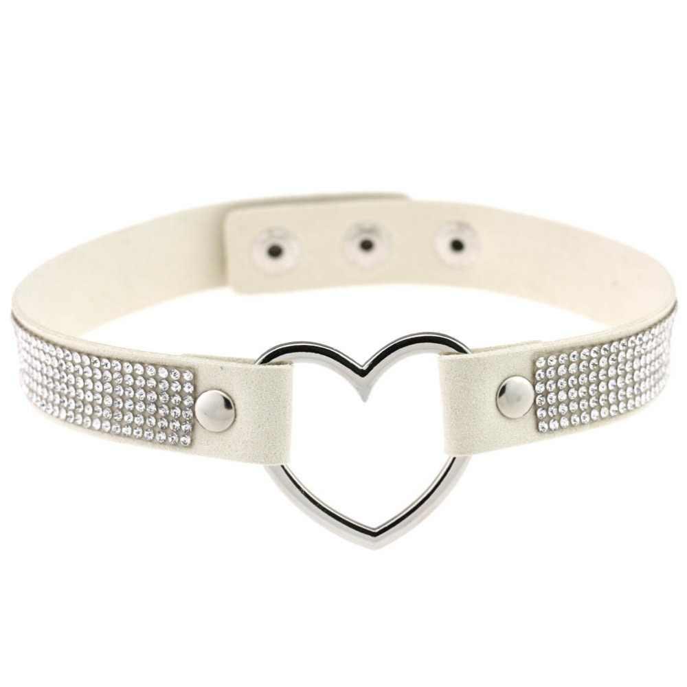 Coração de couro preto strass gargantilha colar feminino gargantilha de cristal 2017 instrução chocker colar moda jóias