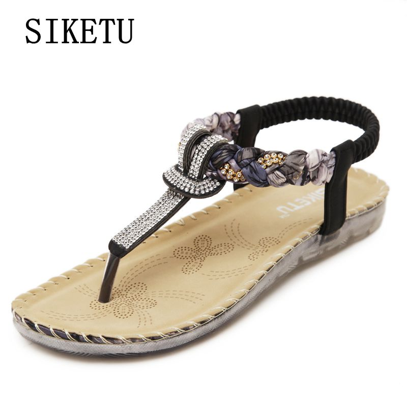 SIKETU Summer new women's fashion sandals bohemian large size woman sandals soft-bottomed Female comfortable casual flat sandals siketu summer new bohemian slope women s sandals fashion casual comfortable woman sandals beach non slip sandals plus size 40