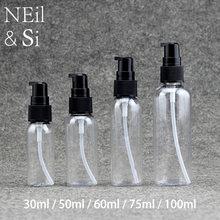 Frasco spray de bomba de plástico, creme cosmético 30ml/50ml/60ml/75ml/100ml frascos de loção shampoo preto/branco, frete grátis