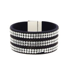 ORNAPEADIA New Hot Jewelry Bohemia bracelet Magazine big brand light luxury chain rive Leather Bangles for women gift wholesales