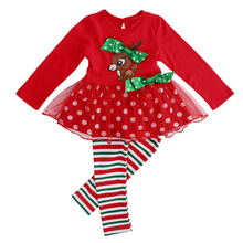 TANGGETU ship kids girls clothes sets autumn Baby Girls Outfit Fawn Print T-shirt Top+Dot Leggings Pants Christmas Set S40