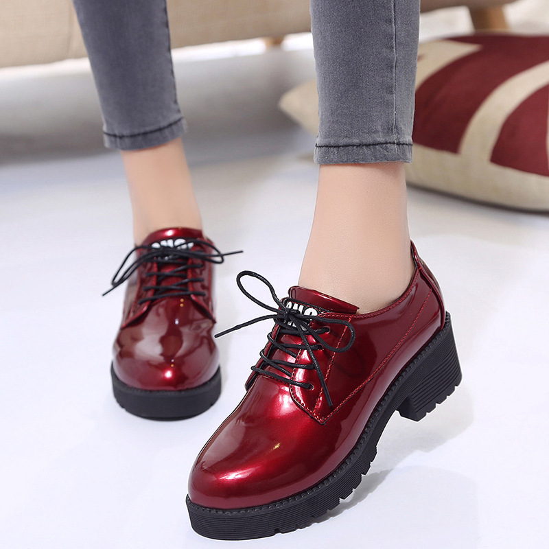 Thick Bottom Women Flat Platform Shoes Fashion Design Round Toe Lace-up Women Casual Shoes British Style Women Brogue Shoes bonjomarisa new arrivals 2016 solid plain round toe lace up sporting thick platform pumps women fashion cassual shoes women