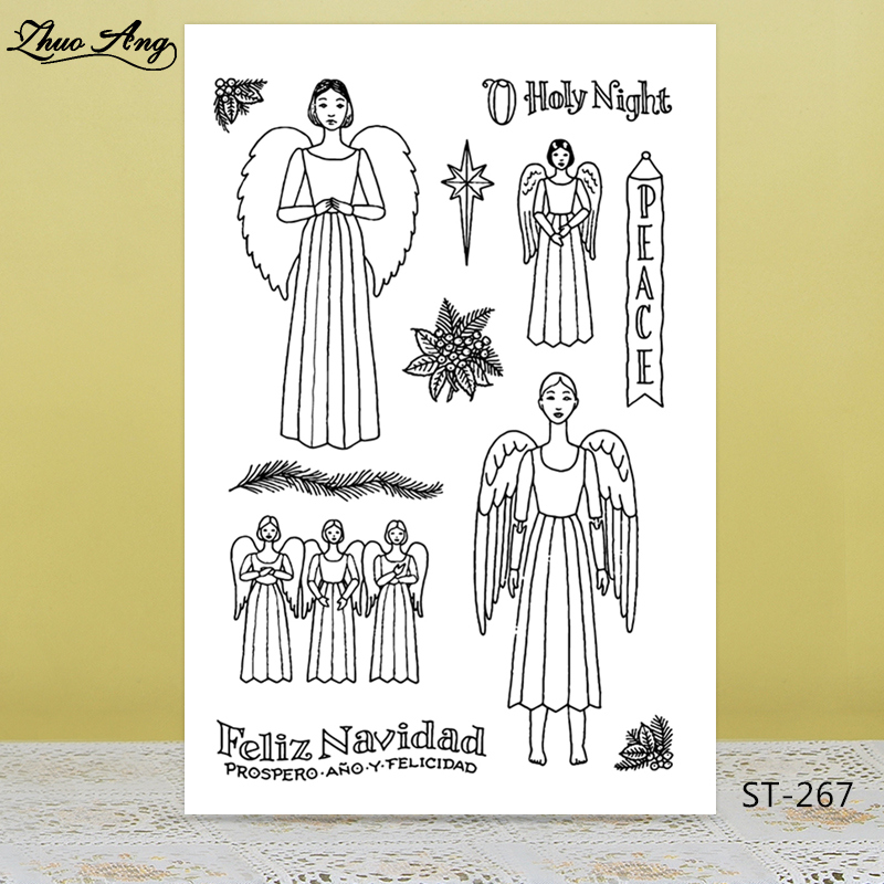Holy neight/angel Transparent Rubber Stamp/Seal for DIY Scrapbooking/Photo Album Decorative Card Making Clear Stamps Supplies