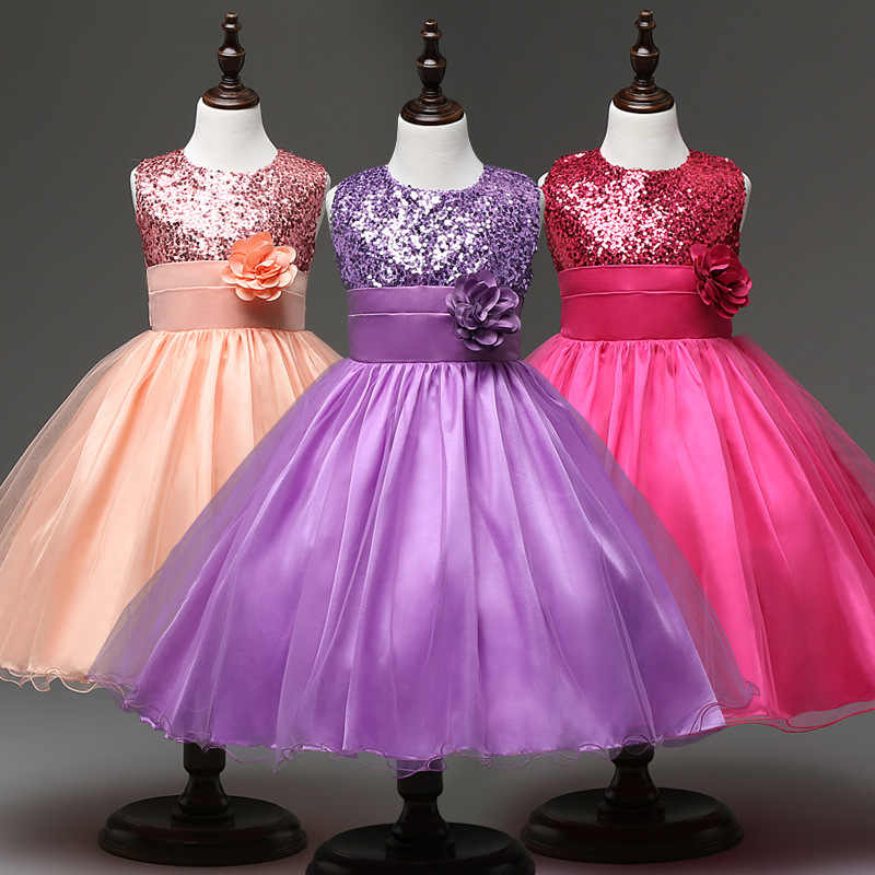 e617be52d6451 Flower Girl Party Dress Baby Princess Dress for girls Clothing teenagers  Wedding Girl Dress Birthday Party Designs Kids Clothing