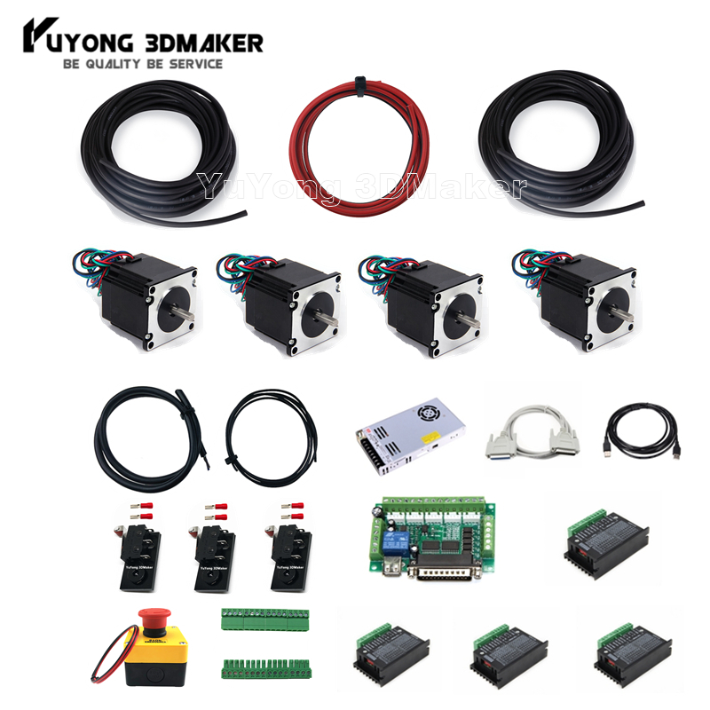 Mach 3 Electronic Controller Combo with 4pcs Nema Stepper Motors For Workbee OX CNC and other