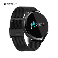 SCELTECH Q8 Smart Watch OLED Color Screen Heart Rate Monitor Blood Pressure Oxygen IP67 Pedometer Fun Game Sport Fitness Watches