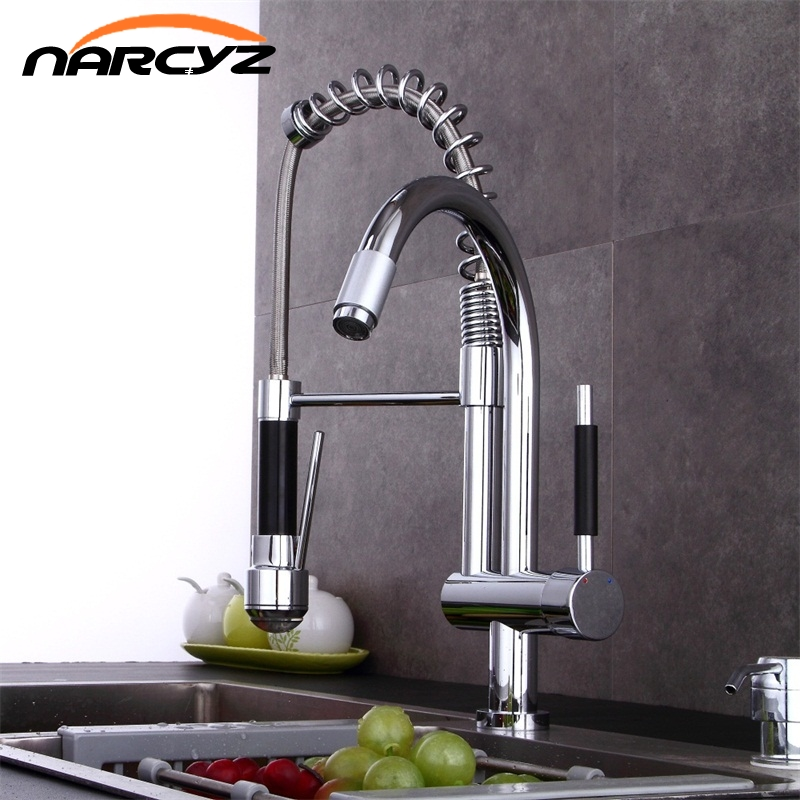 цена на New Style Pull Up Down Kitchen Faucet Chrome LED Light Swivel Sink Basin Brass Torneira Cozinha Tap Mixer Faucets XT-102