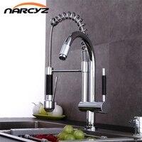 New Style Pull Up Down Kitchen Faucet Chrome LED Light Swivel Sink Basin Brass Torneira Cozinha