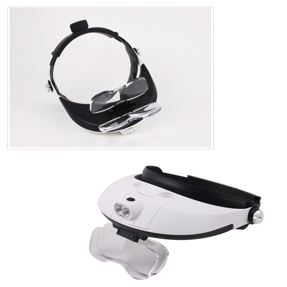 Jewelry Repair Reading Magnifying Glass Dental Loupes 2.5x 1.0x 1.5x 2.0x Headband 5Lens Binoculars Third Hand Magnifier Light