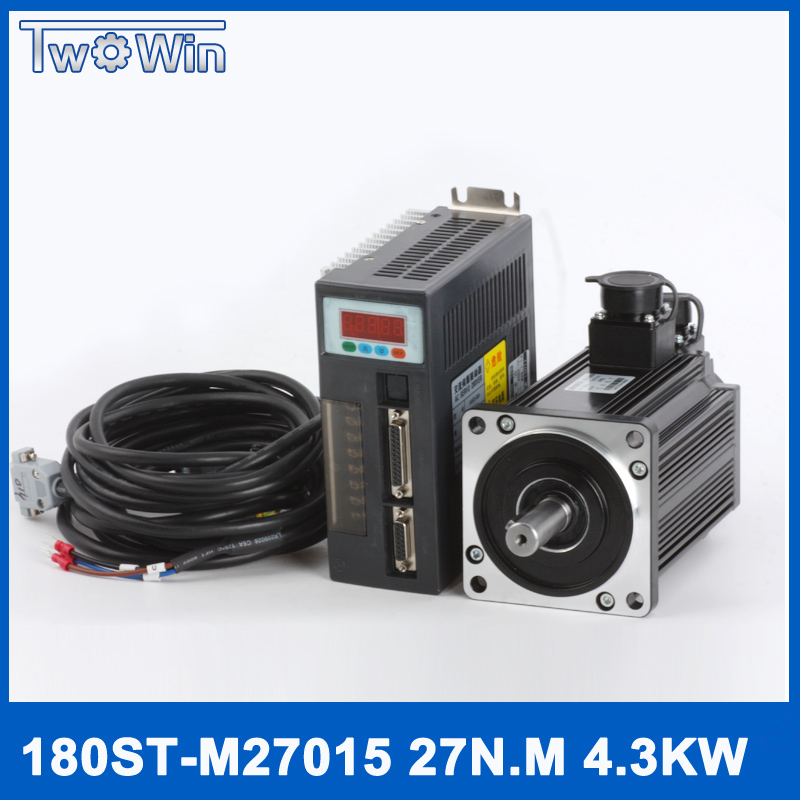 High-power servo motor kits 180ST M27015 4.3KW 27N.M 380V servo motor 4300W AC servo motor 57 brushless servomotors dc servo drives ac servo drives engraving machines servo