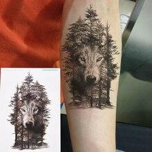 1 шт., 21*15 см, водостойкая временная татуировка, наклейка, волк, лес, тату, s флэш-тату, поддельные татуировки для женщин и мужчин