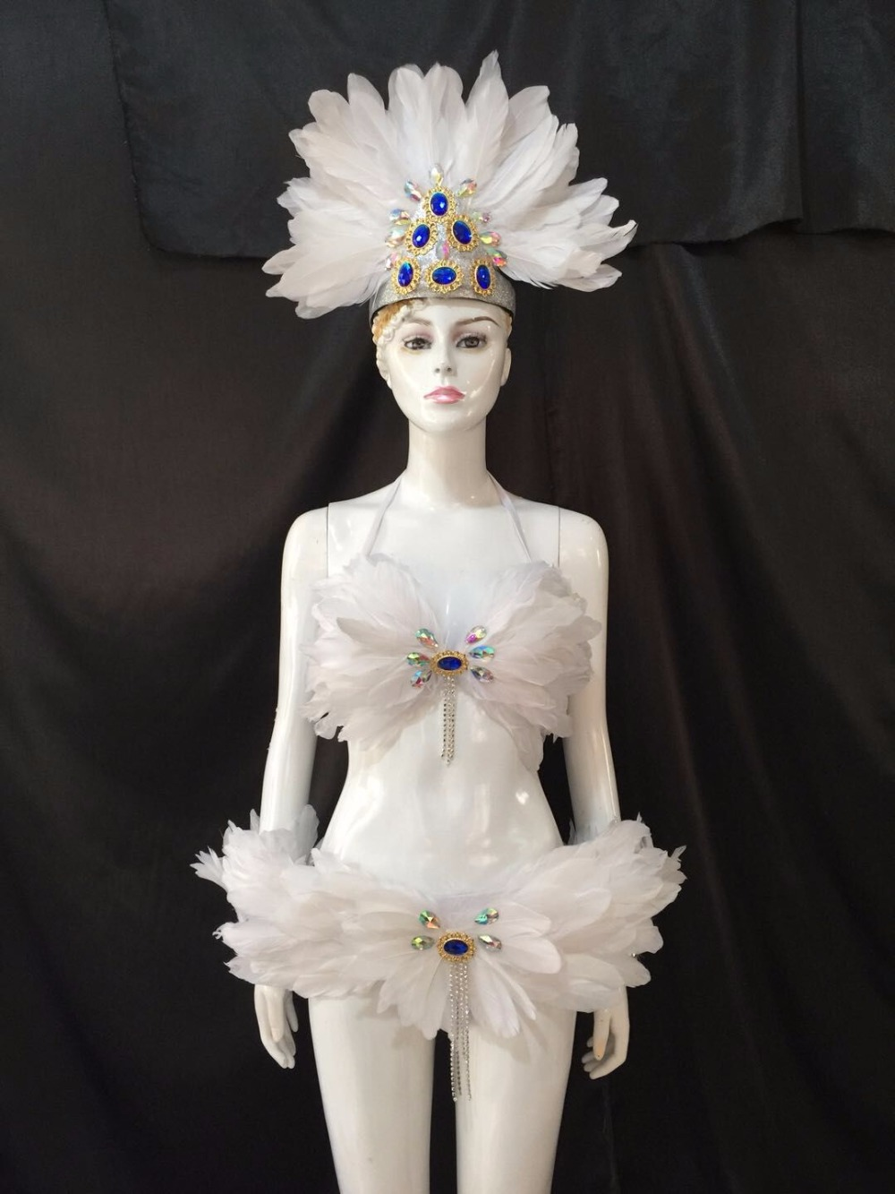 the show s victoria cabaret stage clothes skirt big angel feather wing headdress wings costume set