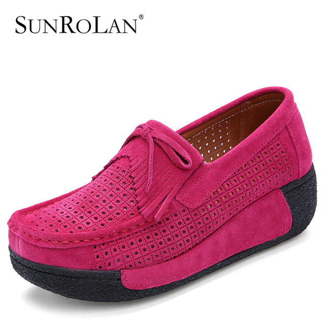 SUNROLAN Spring Women Flat Platform Shoes Fashion Bow Suede Driving Moccasins Slip On Tassel Loafers Women Shape Up Shoes XL1319