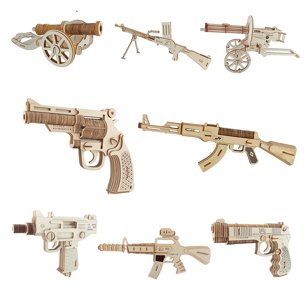 Wooden 3D Puzzle Jigsaw Wooden Toys For Children Cartoon Gun Puzzles Intelligence Kids Children Educational Toy electric spider robot toy diy educational intelligence development assembles kids children puzzle action toys kits