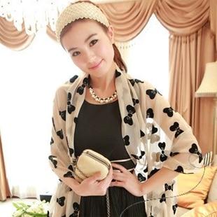 (Min order is $10) E8168 scarf female bow chiffon silk scarf the summer air conditioning long beach towel