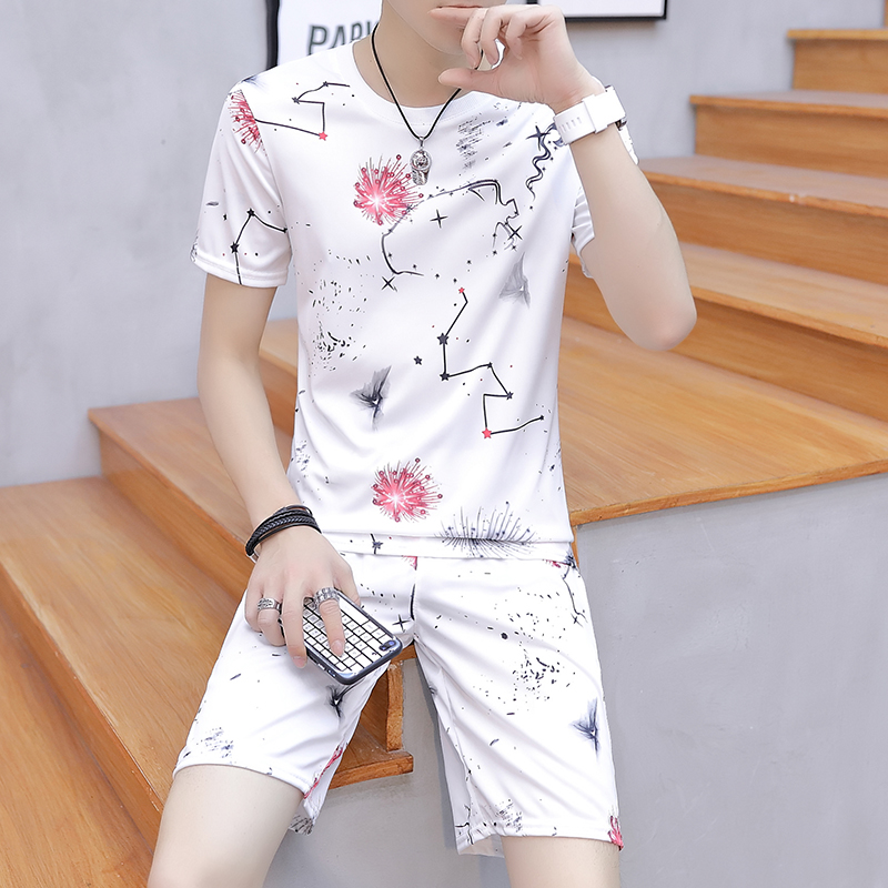 New Men Sweat Suit Summer Print Casual Men's Short-sleeved Suit 2 Pieces Sets Male T-shirts Shorts Mens Jogger Sets Tracksuit