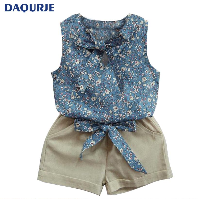 2017 Summer Roupas Infantis Menina Girls Clothes Flower Printing Vest + Pure Color Pants 2 Suit Summer Fashion Girl Clothing Set комплект одежды для девочек children clothing 2 roupas infantis menina