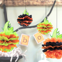 1pc Lime Halloween Pumpkin Pom Table Centerpiece Collection Carnival Decoration