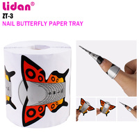 LIDAN Nail Tool 300 Pcs New Brown Butterfly Paper Tray UV Light Therapy Extended Plastic clamp for nail extensions